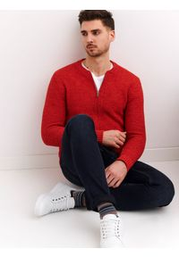 Pomarańczowy sweter TOP SECRET na lato, w kolorowe wzory, na co dzień, casualowy
