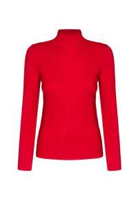 Czerwony sweter Fusalp w prążki, z golfem