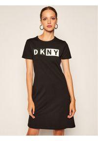 Czarna sukienka dzianinowa DKNY Sport sportowa, sportowa
