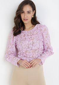 Born2be - Liliowa Bluzka Phaisithoe. Kolor: fioletowy. Materiał: koronka. Długość: długie. Wzór: koronka, aplikacja