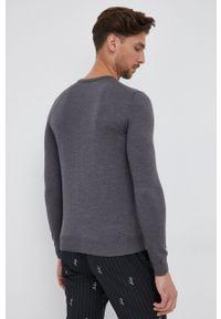 Hugo - Sweter wełniany. Okazja: na co dzień. Kolor: szary. Materiał: wełna. Styl: casual