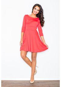 Pomarańczowa sukienka rozkloszowana Figl elegancka