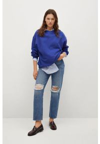 mango - Mango - Bluza bawełniana Polka. Kolor: niebieski. Materiał: bawełna. Długość rękawa: długi rękaw. Długość: długie