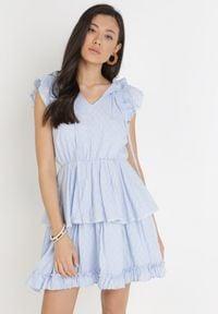 Born2be - Jasnoniebieska Sukienka Nixistae. Typ kołnierza: kołnierz z falbankami. Kolor: niebieski. Materiał: bawełna, tkanina. Wzór: ażurowy, aplikacja. Długość: mini