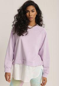 Renee - Liliowa Bluza Ilelaira. Kolor: fioletowy. Materiał: jeans. Długość rękawa: raglanowy rękaw. Długość: długie