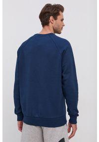 Under Armour - Bluza. Kolor: niebieski. Materiał: dzianina. Długość rękawa: raglanowy rękaw. Wzór: gładki