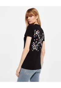 OFF-WHITE - Czarny t-shirt z kwiatkami. Okazja: na co dzień. Kolor: czarny. Materiał: bawełna, jeans. Wzór: kwiaty. Styl: casual
