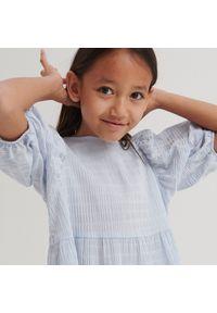 Reserved - Bluzka z bufiastymi rękawami - Niebieski. Kolor: niebieski