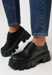 Born2be - Czarne Półbuty Phiniopis. Wysokość cholewki: przed kostkę. Nosek buta: okrągły. Zapięcie: sznurówki. Kolor: czarny. Materiał: dzianina. Szerokość cholewki: normalna. Obcas: na platformie