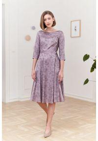 Marie Zélie - Sukienka Galatea Tarsia beżowa. Kolor: beżowy. Materiał: bawełna, satyna, skóra, materiał