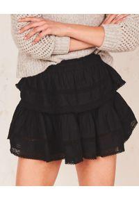 LOVE SHACK FANCY - Czarna spódnica mini. Kolor: czarny. Materiał: bawełna, wełna, koronka. Wzór: aplikacja, koronka. Sezon: lato. Styl: klasyczny