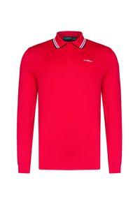 Czerwona koszulka polo Chervo z długim rękawem, polo