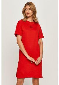 Czerwona sukienka Hugo prosta, casualowa