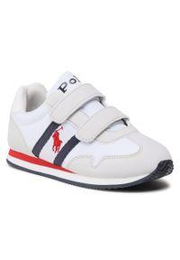 Polo Ralph Lauren - Sneakersy POLO RALPH LAUREN - Kelland Ez RF102922 White/Ltgry/Nvy. Okazja: na spacer. Zapięcie: rzepy. Kolor: beżowy. Materiał: skóra ekologiczna, materiał. Szerokość cholewki: normalna