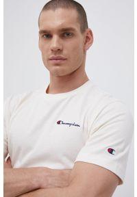 Champion - T-shirt bawełniany. Okazja: na co dzień. Kolor: beżowy. Materiał: bawełna. Wzór: gładki. Styl: casual