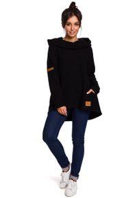 e-margeritka - Bluza damska z kapturem czarna - xl. Okazja: na co dzień. Typ kołnierza: kaptur. Kolor: czarny. Materiał: bawełna, dzianina, materiał, poliester. Długość: długie. Styl: casual