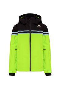 Zielona kurtka zimowa Descente retro, z aplikacjami, z podwójnym kołnierzykiem