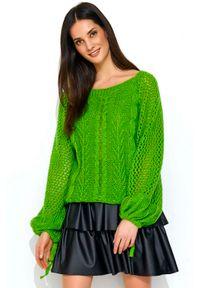 Zielony sweter oversize Makadamia w ażurowe wzory
