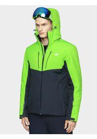 Zielona kurtka narciarska 4f na zimę, z kapturem