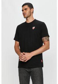 Czarny t-shirt Prosto. na co dzień, casualowy, z okrągłym kołnierzem, z aplikacjami