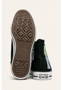 Czarne tenisówki Converse na sznurówki, na średnim obcasie