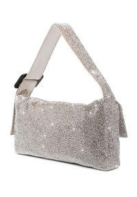 BENEDETTA BRUZZICHES - Srebrna torebka La Monique Large White Lady. Kolor: srebrny. Wzór: aplikacja. Styl: elegancki, klasyczny, casual. Rodzaj torebki: na ramię