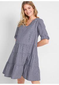Sukienka szmizjerka ciążowa i do karmienia bonprix ciemnoniebiesko-biały w paski. Kolekcja: moda ciążowa. Kolor: niebieski. Wzór: paski. Typ sukienki: szmizjerki