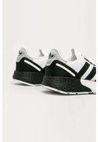 Białe buty sportowe adidas Originals z okrągłym noskiem, Adidas ZX, z cholewką, na sznurówki