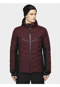 Czerwona kurtka narciarska 4f z kapturem, na zimę