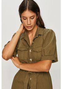 Zielona sukienka ANSWEAR wakacyjna, na co dzień, z krótkim rękawem