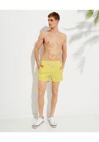 Ralph Lauren - RALPH LAUREN - Żółte kąpielówki Traveler. Kolor: żółty. Materiał: tkanina. Wzór: haft