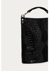 Czarna shopperka Answear Lab duża, na ramię, wakacyjna, zamszowa