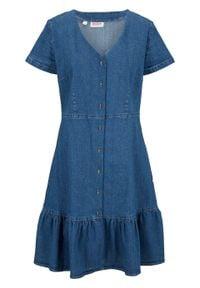 Sukienka dżinsowa, krótki rękaw bonprix jasnoniebieski. Kolor: niebieski. Długość rękawa: krótki rękaw. Styl: elegancki