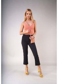 Nommo - Czarne Materiałowe Spodnie 7/8 z Prostymi Nogawkami. Kolor: czarny. Materiał: materiał