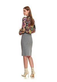 TOP SECRET - Ołówkowa spódnica midi z rozcięciem. Kolor: szary