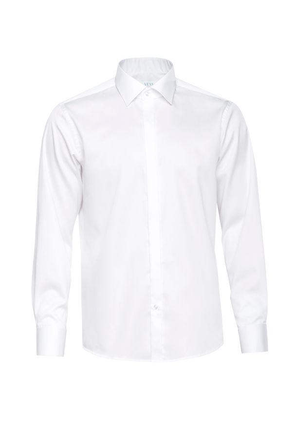 Biała elegancka koszula VEVA z klasycznym kołnierzykiem, na spotkanie biznesowe, z długim rękawem, w kolorowe wzory