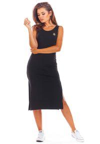 Infinite You - Czarna Bawełniana Dopasowana Sukienka z Rozporkami. Kolor: czarny. Materiał: bawełna