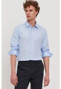 BOSS - Boss - Koszula bawełniana. Typ kołnierza: kołnierzyk klasyczny. Kolor: niebieski. Materiał: bawełna. Wzór: gładki. Styl: klasyczny