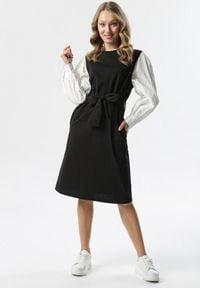 Born2be - Czarna Sukienka Sofronia. Okazja: na spotkanie biznesowe. Kolor: czarny. Materiał: tkanina, dzianina, materiał. Typ sukienki: koszulowe, ołówkowe. Styl: klasyczny, biznesowy