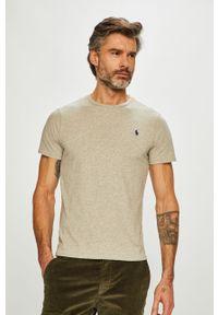 Szary t-shirt Polo Ralph Lauren z okrągłym kołnierzem