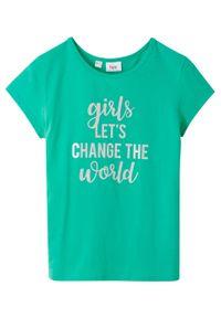 Zielona bluzka bonprix z nadrukiem
