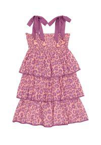 ZIMMERMANN KIDS - Różowa sukienka w panterkę Teddy 2-10 lat. Kolor: różowy, wielokolorowy, fioletowy. Materiał: bawełna. Długość rękawa: na ramiączkach. Wzór: motyw zwierzęcy. Sezon: lato