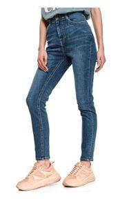 TOP SECRET - Jeansowe spodnie skinny. Okazja: do pracy. Kolor: niebieski. Materiał: jeans. Długość: długie. Sezon: wiosna