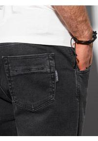 Ombre Clothing - Spodnie męskie joggery P1057 - czarne - XXL. Kolor: czarny. Materiał: bawełna, jeans, elastan