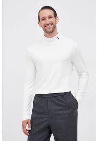 Polo Ralph Lauren - Longsleeve bawełniany. Okazja: na co dzień. Typ kołnierza: polo. Kolor: beżowy. Materiał: bawełna. Długość rękawa: długi rękaw. Wzór: aplikacja. Styl: casual