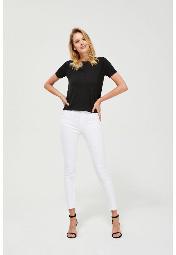 MOODO - Spodnie rurki lyocell. Materiał: lyocell. Długość: długie. Wzór: gładki