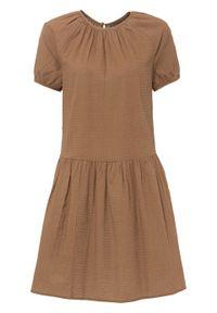 Sukienka bonprix brązowy mokka. Kolor: brązowy
