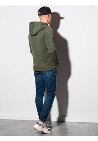 Ombre Clothing - Bluza męska rozpinana z kapturem B1157 - oliwkowa - XXL. Typ kołnierza: kaptur. Kolor: oliwkowy. Materiał: bawełna, poliester