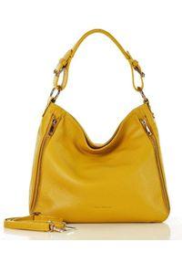 Żółta torebka klasyczna na ramię, skórzana