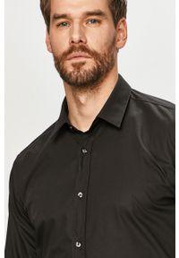 Czarna koszula Hugo z klasycznym kołnierzykiem, z długim rękawem, klasyczna, gładkie